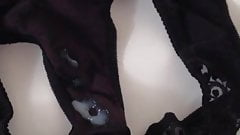 I cum on black panties of my GF - 1