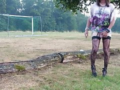 smoking, old Tranny playing on her clitty