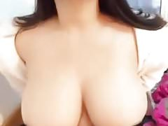 Asian hot babe shows big boobs