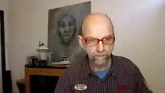 Old man jerking on cam
