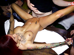 My Dirty Hobby - Tattoed babe gets gangbanged