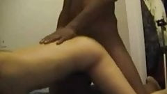 Asian girl with black guy in his room - Amateur Interracial
