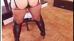 Leather boots mature skirt and