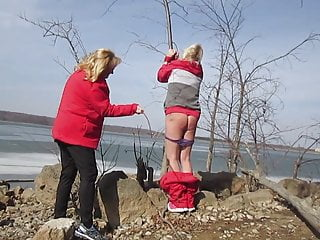 Mistress Whips Sissy Husband Outdoors