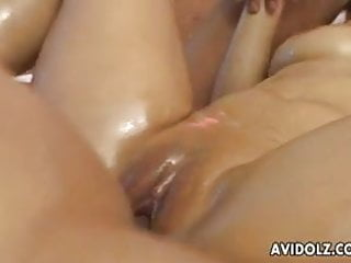 Nasty oiled up Meguru Kosaka hot double fuck
