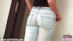 Watch my trying on my new pair of skinny jeans