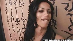 Yummy latina shemale tugging on her rock hard cock