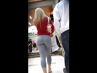 Blonde skin tight grey leggings booty