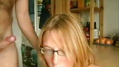 Blonde Takes a Huge Load in Her Mouth