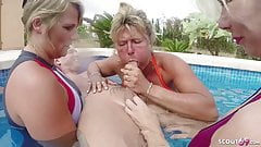 Three GERMAN MILFs help Guy to Cum on Holiday in FFFM