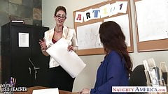 Sex teachers Eva Notty and Syren De Mer sharing a large dick