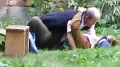 Russian granny and grandpa fucking outdoor