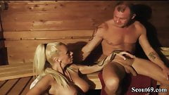 German Amateur MILF with Big Tits Fuck Stranger in Sauna