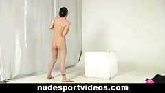 Slim girl training her naked body