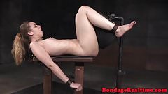 Sybian riding submissive clamped with pegs