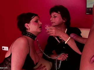 Domination and creampie eating with granny