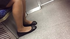 Candid flats and nylons with face shot