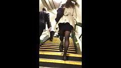 Candid Miniskirt Pantyhose Girl Climbing Stairs's Thumb