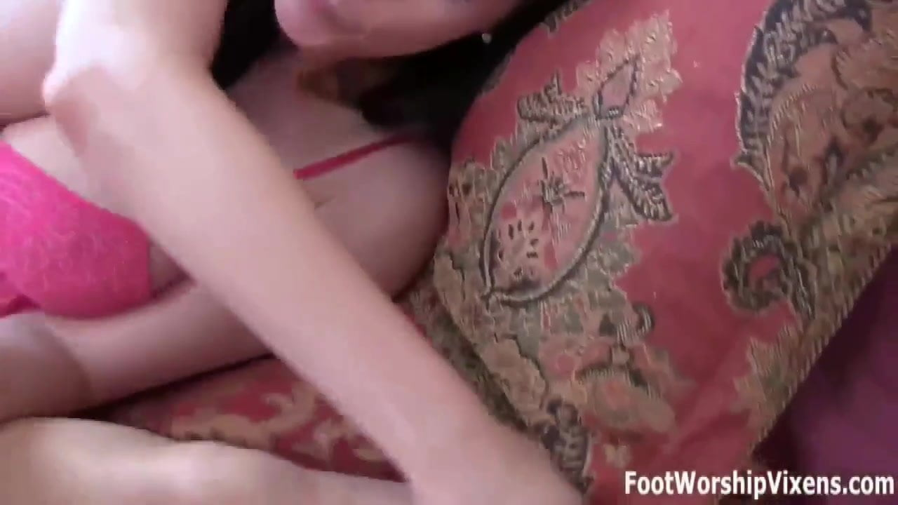Lady Belle worshiping Cherry's perfect feet