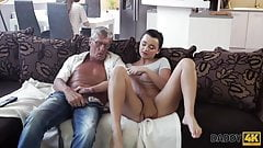 Horny brunette unleashes all lust on boyfriend's old daddy