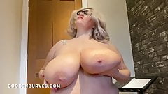 Miss Goody two shoes huge tits and belly