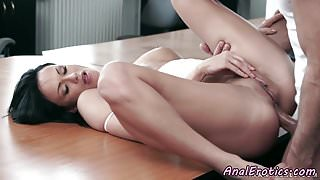 Classy babe gets assfucked on the table
