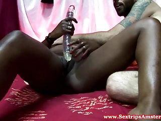 Ebony dutch hooker sprayed with cum