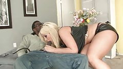 Black hunk fills hot blonde babe's mouth and pussy with cock