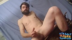 Straight bearded cutie trying out the dick blowing toy