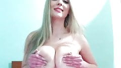 Blonde Cam Girl Rub her Big Perfect Tits