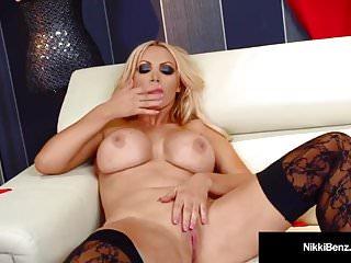 Busty Blonde Nikki Benz Strips & Finger Fucks Her Wet Pussy!