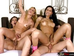 Four alluring dolls with balls get tits covered with jizz