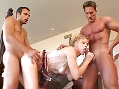 Mature in little red panties takes 2 cocks