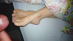 Cum on wife's feet