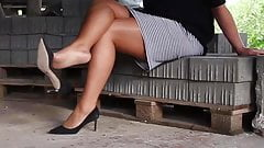 Hard sex with nylon legs and feet