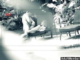 Hot Couple Spied On While Fucking In Backyard