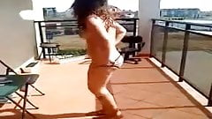 balcony naked funny girl