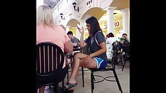 Candid voyeur hot teen nice legs at mall food court