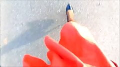 POV Walking in a flared orange skirt and heels