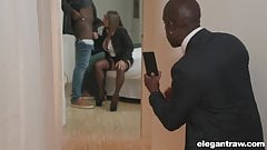 Busy MILF filmed while she deepthroats and fucks anal BBC