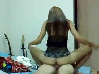 Asian girl ride her boyfriend in her room