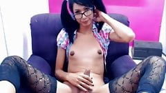 Young latin shemale with big nuts & small tits jacking off