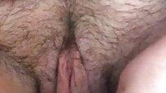 Hairy dildo masturbation