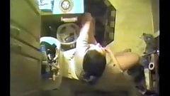Watch my kinky sister rubbing pussy in toilet. Hidden cam