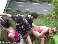 PUBLIC orgy by a highway with big tits star Krystal Swift