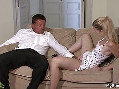 Finding his blonde riding old man big cock