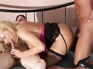 Blonde german mature nailed in a 3some