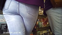 Little teen ass in tight jeans voyeur close up