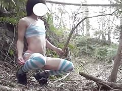 Sweet Femboy with Vibro and Cum outdoor
