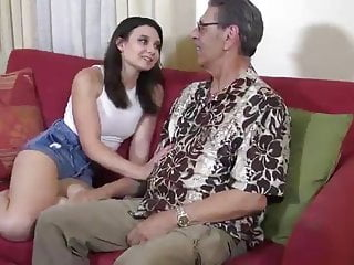 young brunette first time fucked on camera by old man